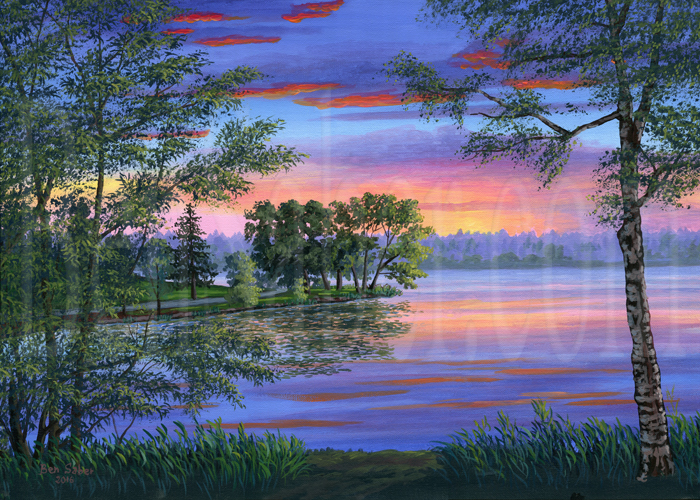 Painting number 107: East shore of Greenlake at sunset, Seattle. Original acrylic painting on canvas 18x24 inches Picture